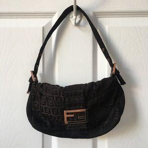 Fendi Zucchino Monogram Baguette Shoulder Bag